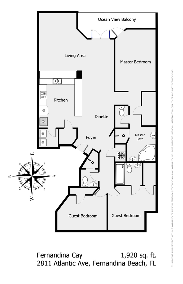 Floor Plan for Fernandina Cay 302 (Beaches & Cream)
